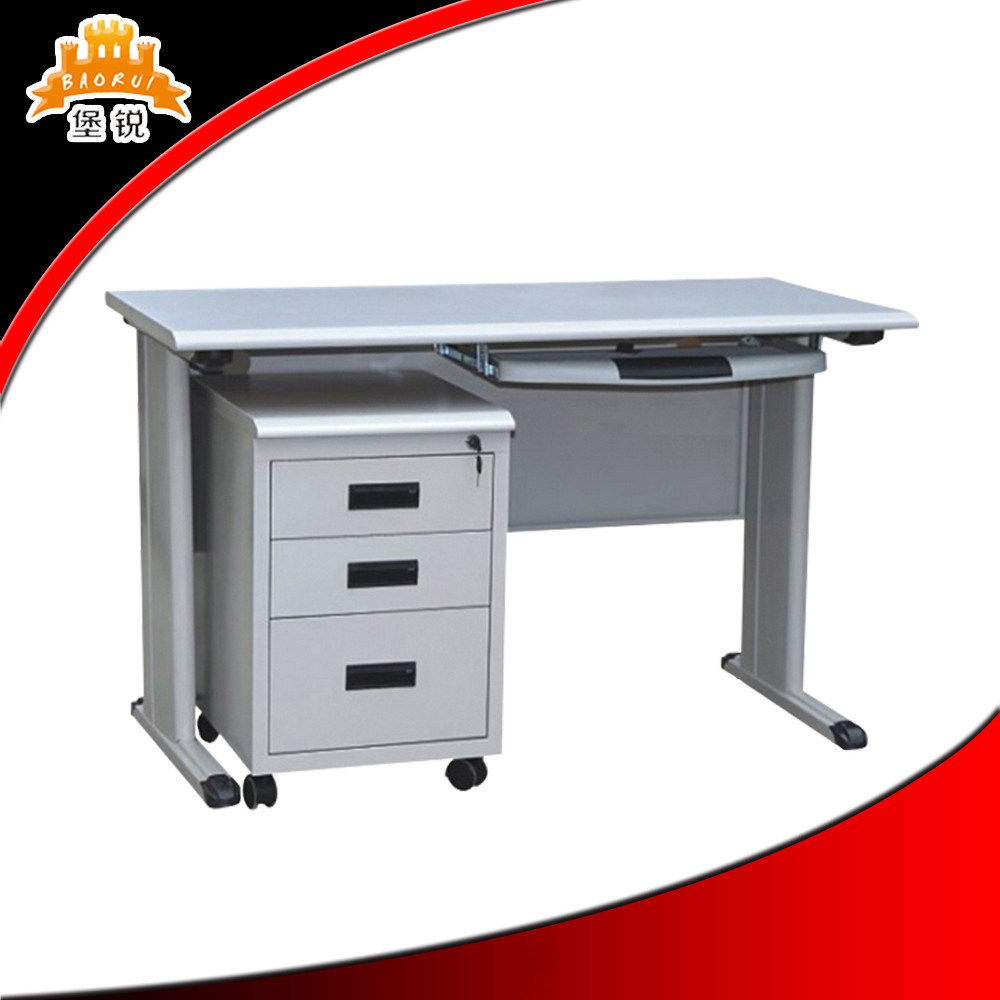 China Steel Office Desk With Locking Drawer Specifications Table
