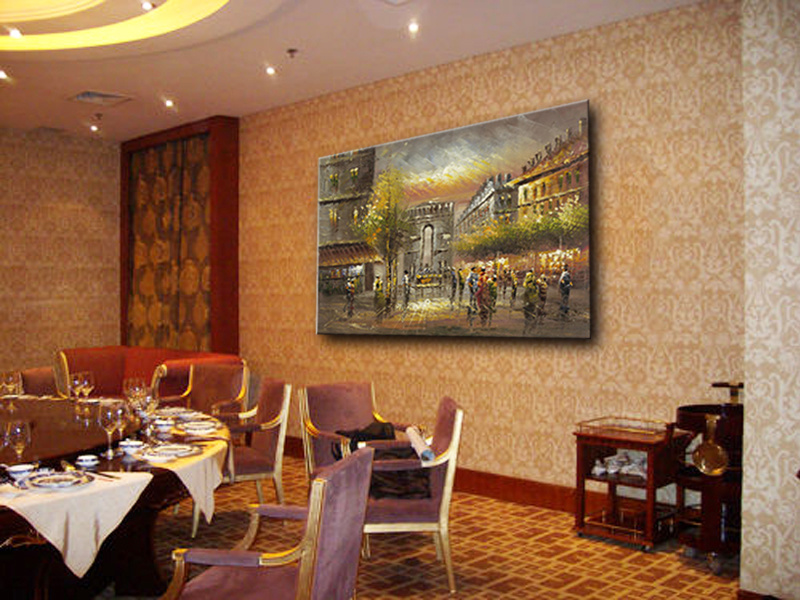 Hotel Decorative Wall Art Paris Street Art Canvas Oil Painting
