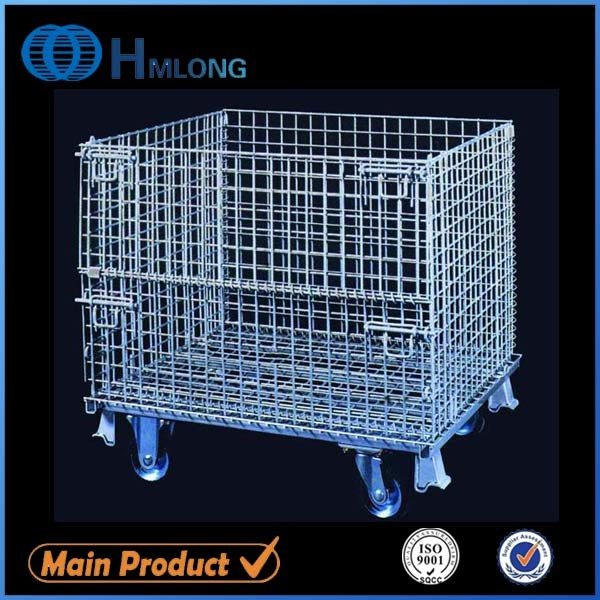 China Foldable Galvanized Metal Security Wire Mesh Storage Roll Cage ...