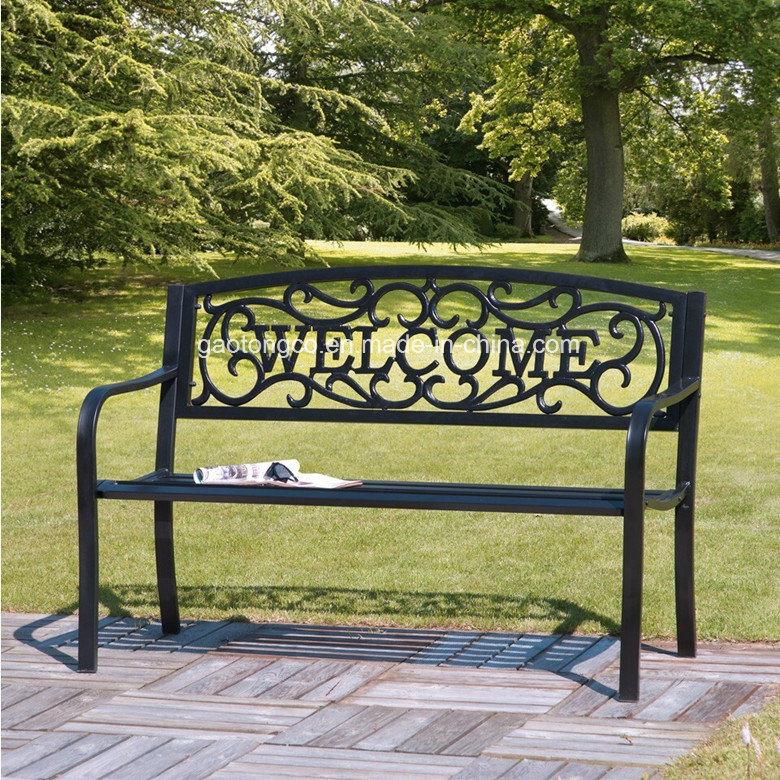 Person Black Checd Garden Bench, Black Cast Aluminum Garden Bench