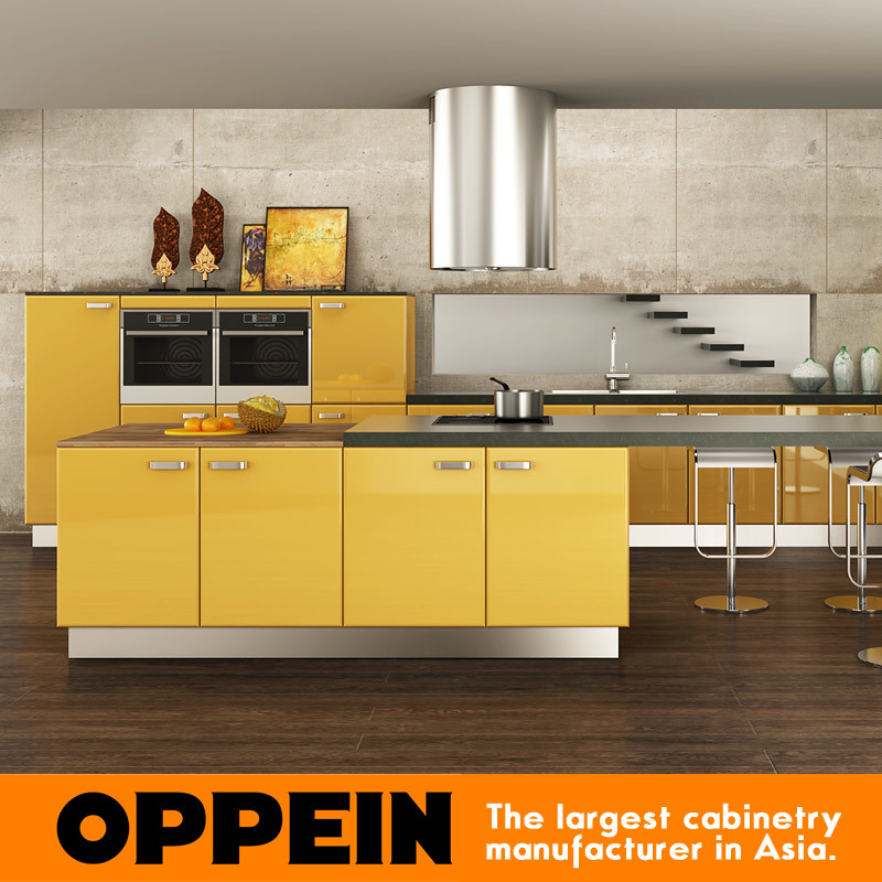 Yellow Wood Kitchen Cabinets: China Oppein Modern Yellow Acrylic Wood Kitchen Cabinets