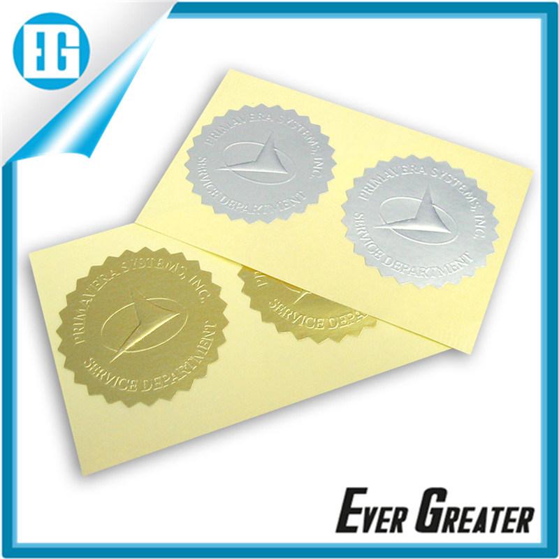 Self adhesive embossed raised logo aluminium foil sticker with custom design