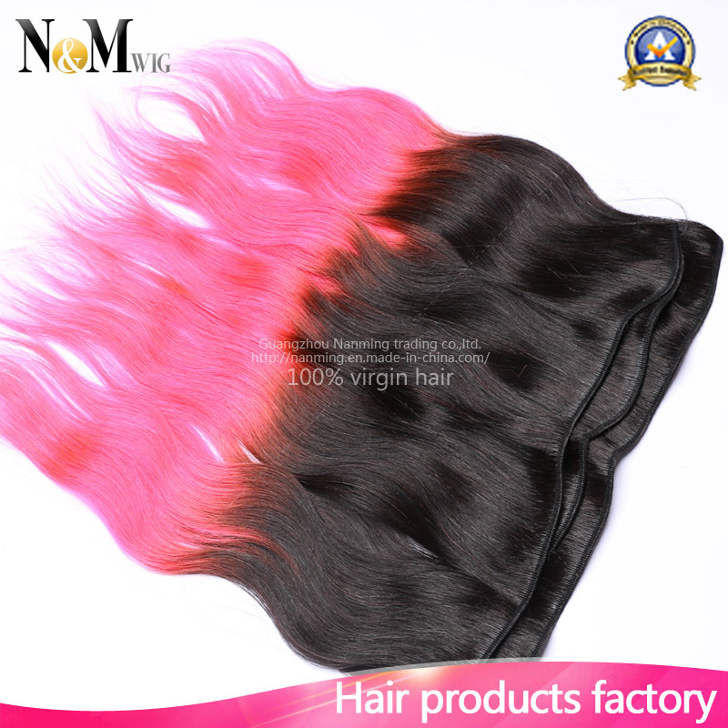 China 9a Two Tone Ombre Peruvian Human Remy Hair Red Hair Pink