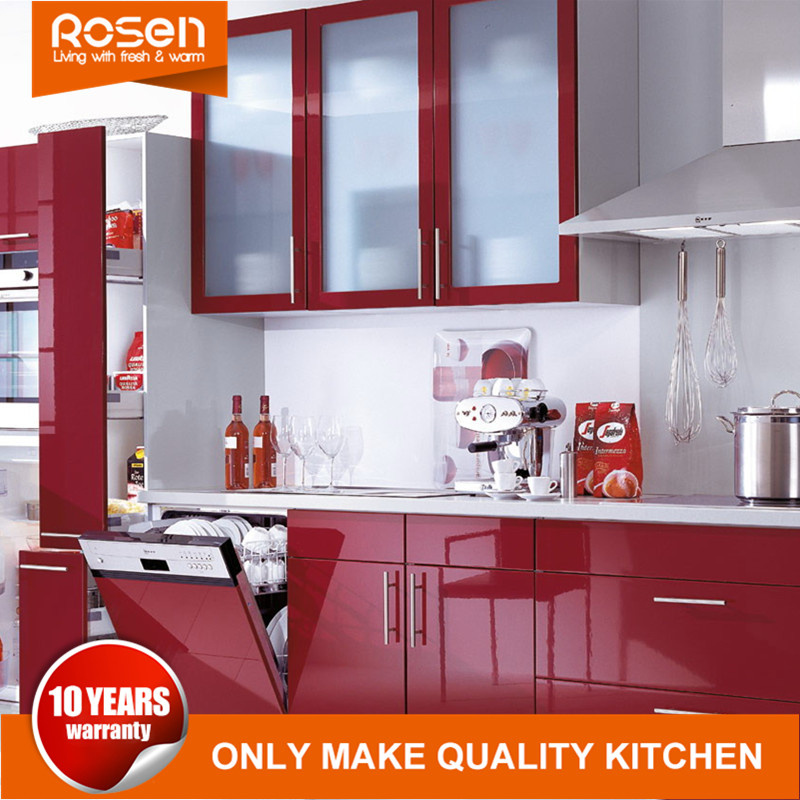 Hot Item Red Colors Glass Door Painted Online Design Kitchen Cabinets