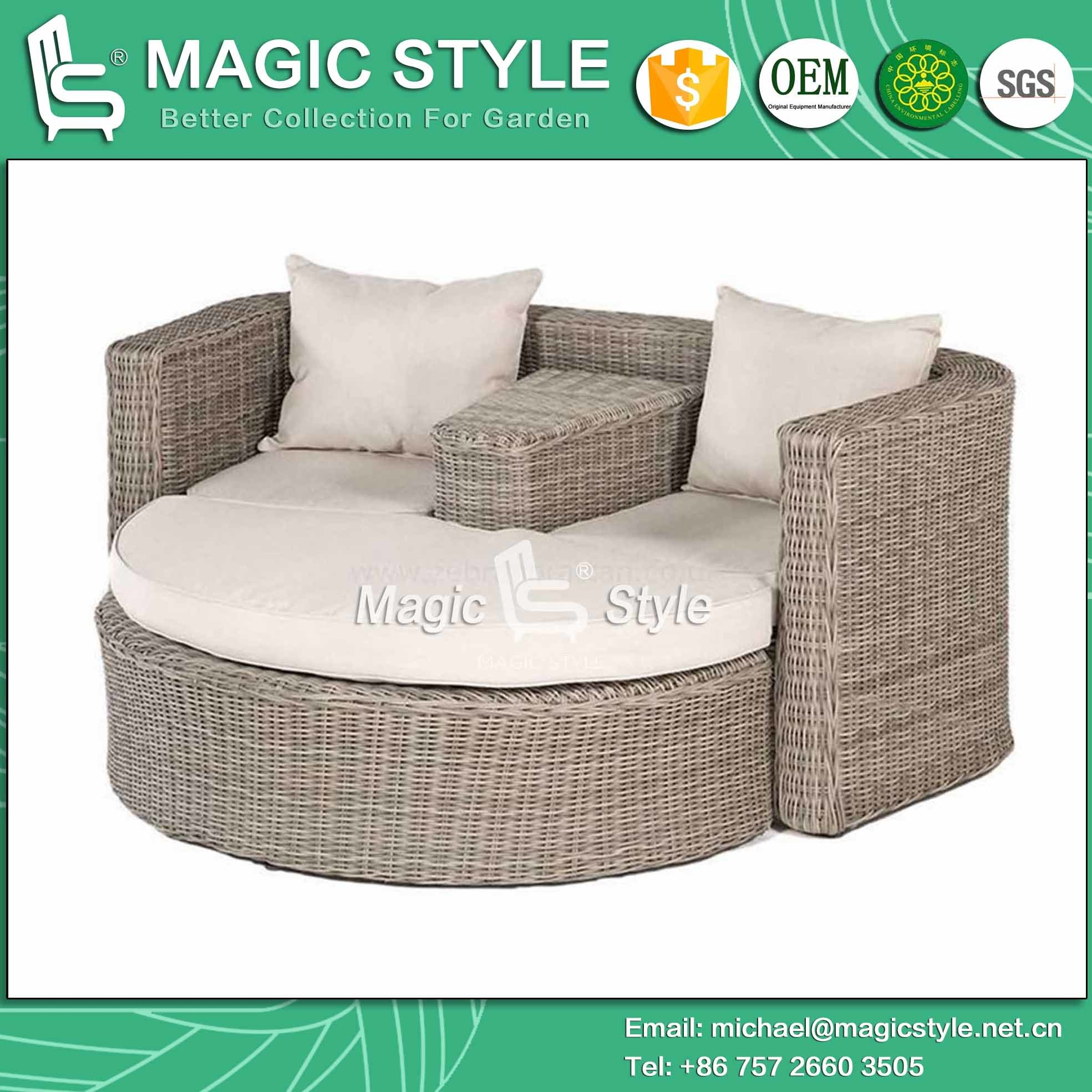 China rattan daybed wicker daybed balcony sunbed bench daybed double sofa leisure daybed outdoor furniture garden furniture magic style china wicker
