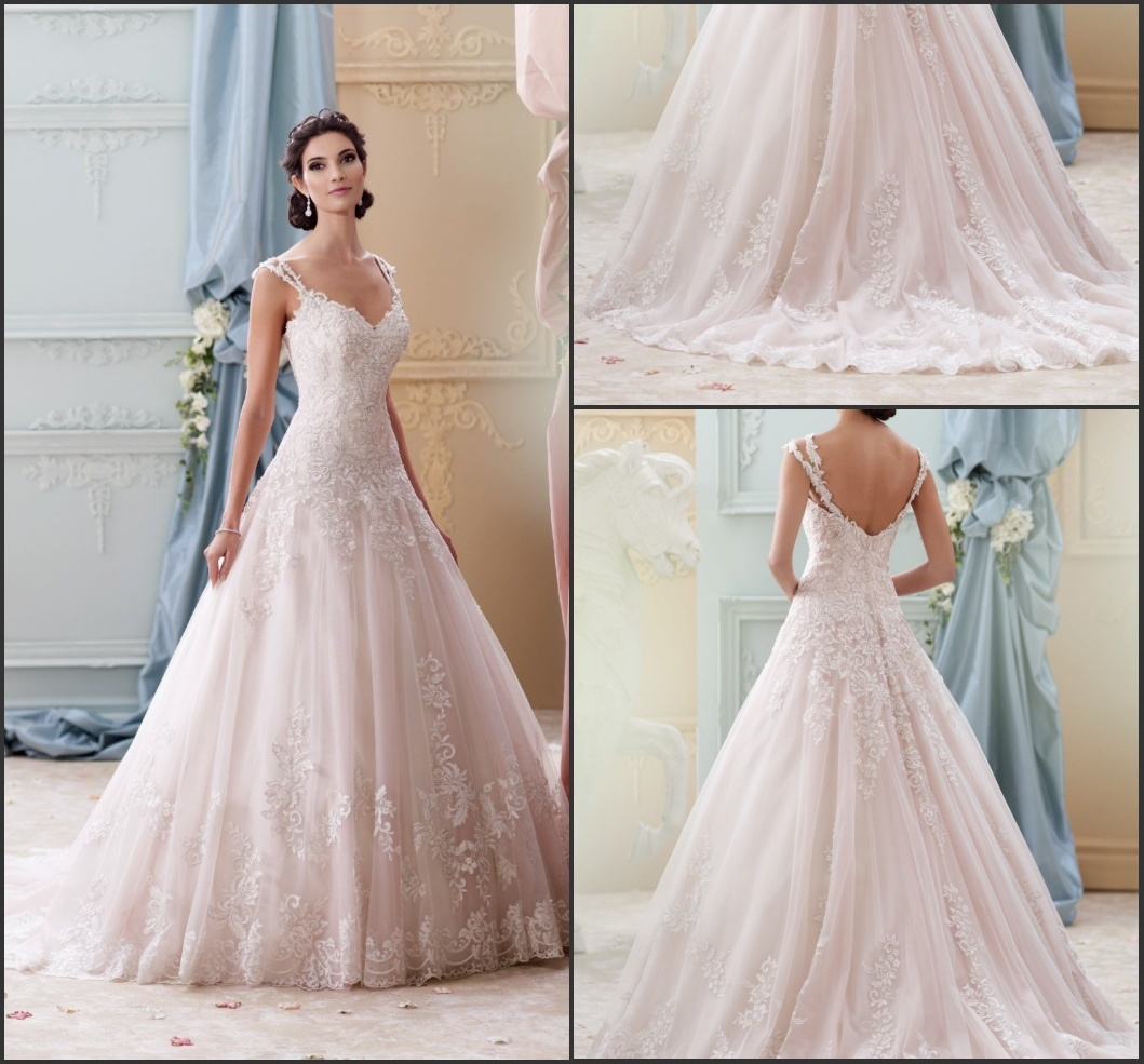 China Light Pink Tulle Bridal Ball Gowns Lace Sweetheart