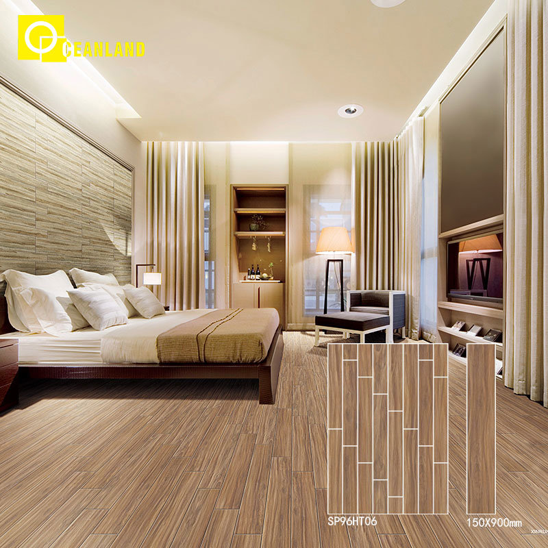 China Foshan Good Quality Brown Glazed Ceramic Bedroom Floor Tiles China Tiles Wood Tile