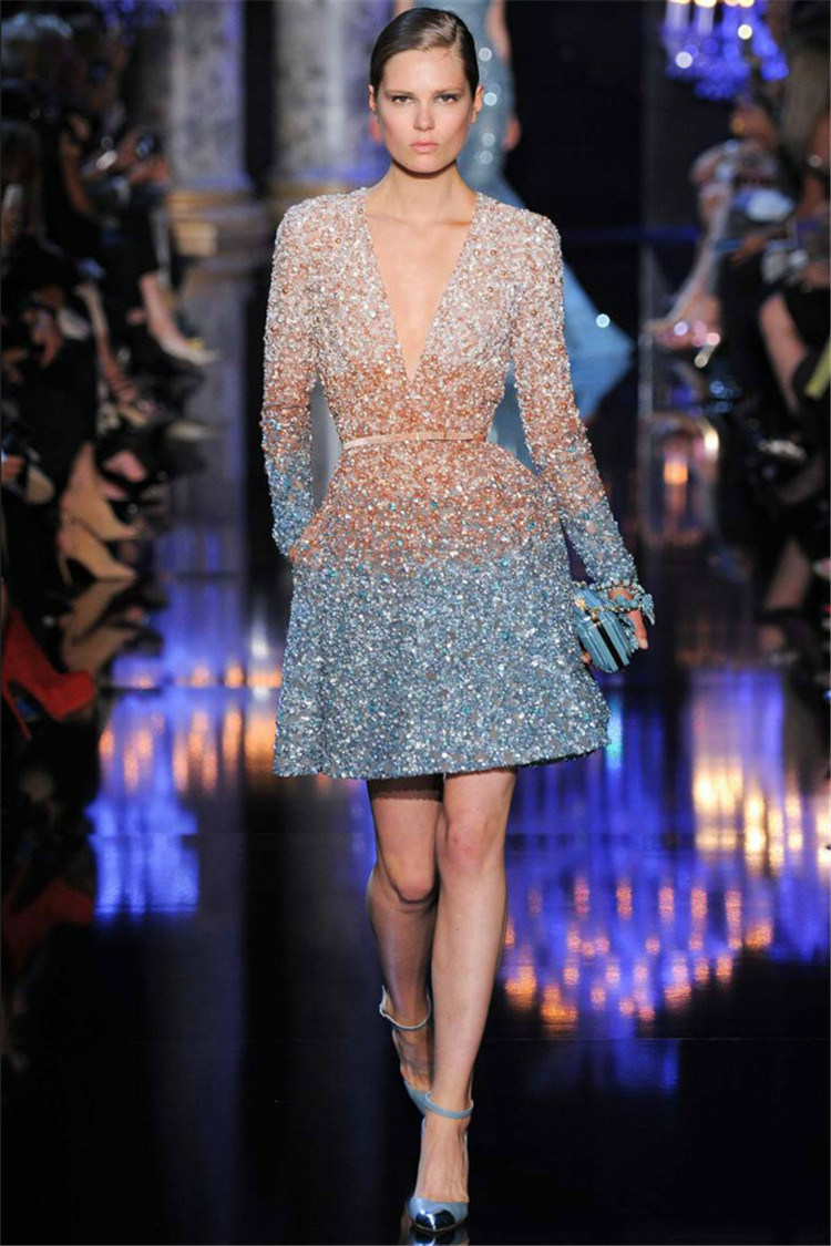 China Blue Brown Short Evening Party Gown Elie-Saab Long Sleeves ...
