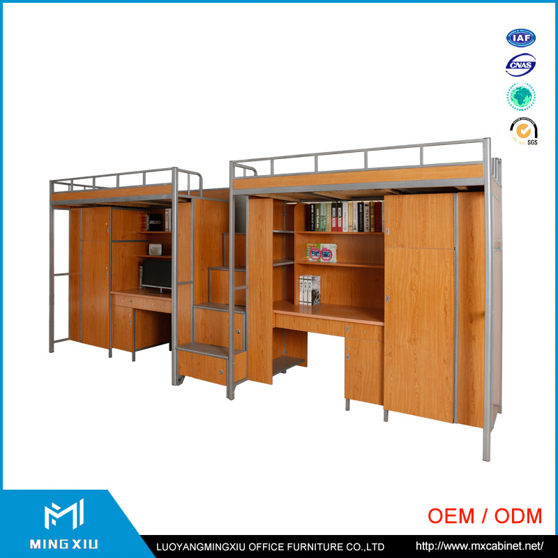 China Mingxiu Metal Double Bunk Bed / Metal Student Dormitory Bed with Locker pictures & photos