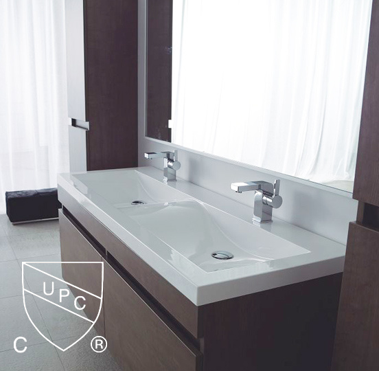 China Double Bowls Bathroom Wash Sinks