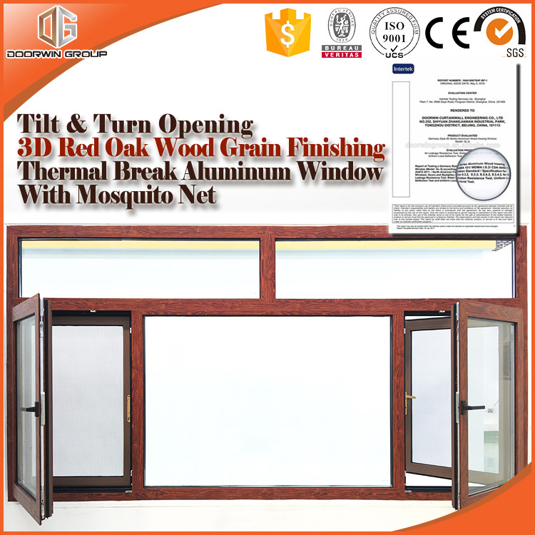 Thermal Break Aluminum Tilt & Turn Window 3D Red Oak Wood Grain Finishing Wood Color, Tilt & Turn Window with Operator pictures & photos