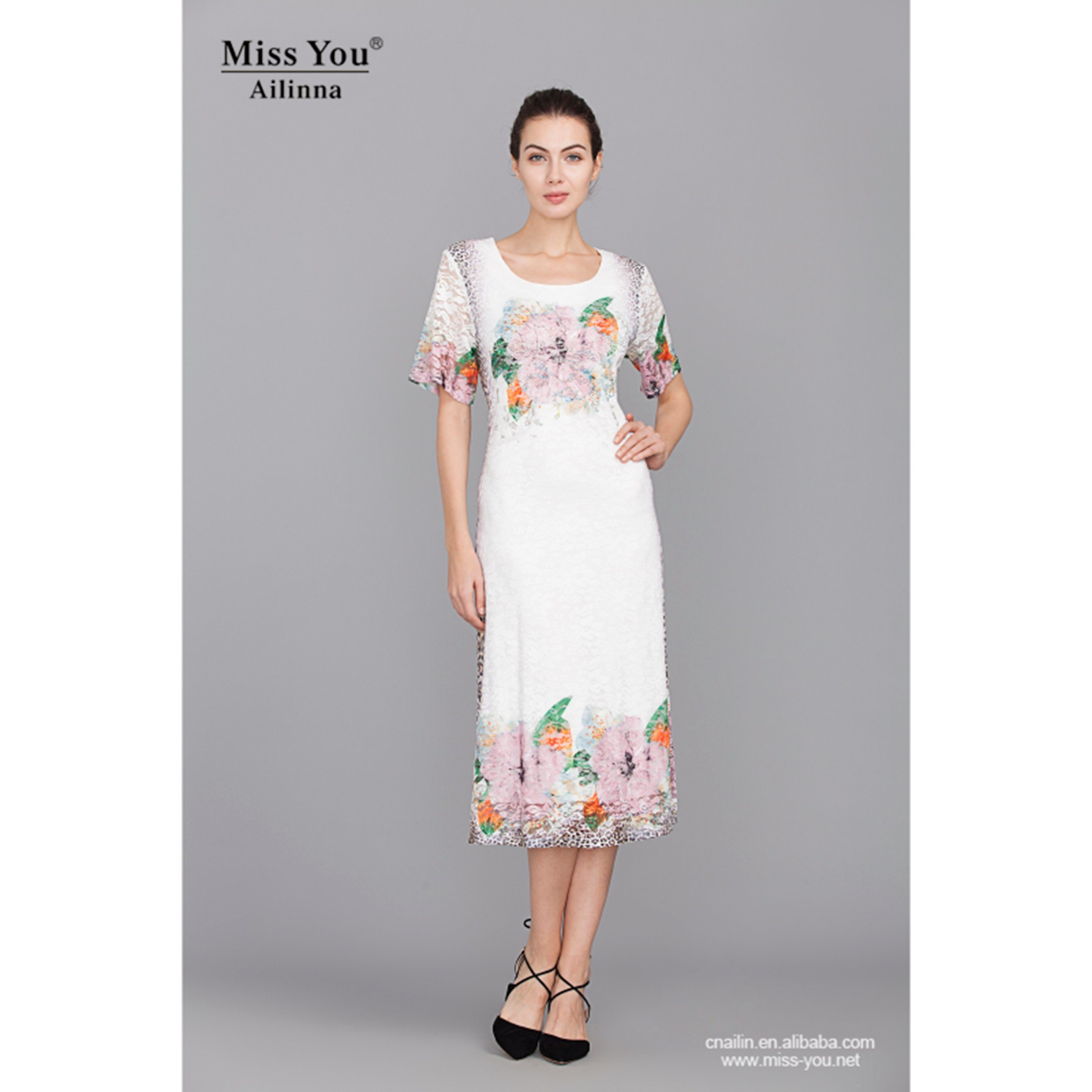 Miss You Ailinna 801856 Women Elegant White Lace Print Dress