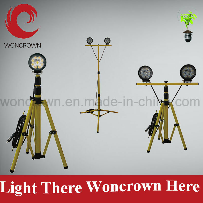 Tripod Wholesale 27W Solid LED Work Light, Single or Double Light Stand Option