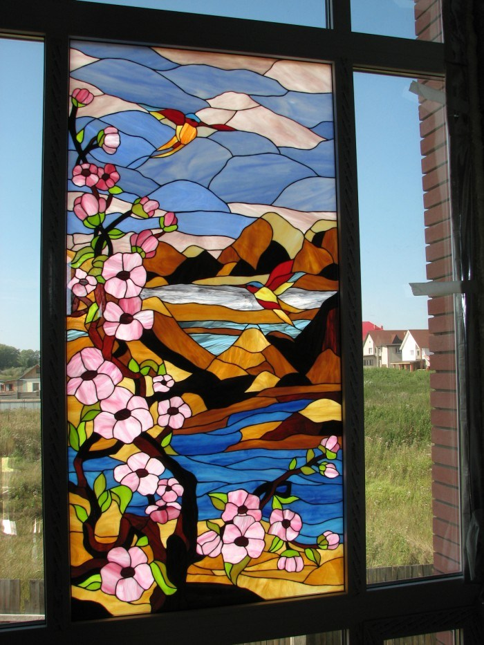 China Flowers Pattern Stained Glass Door Panel With Art Craft Photos