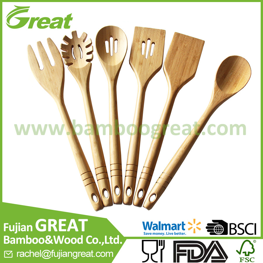 China Bamboo Kitchen Utensils - 6 Wooden Spoons and Spatula Set for ...