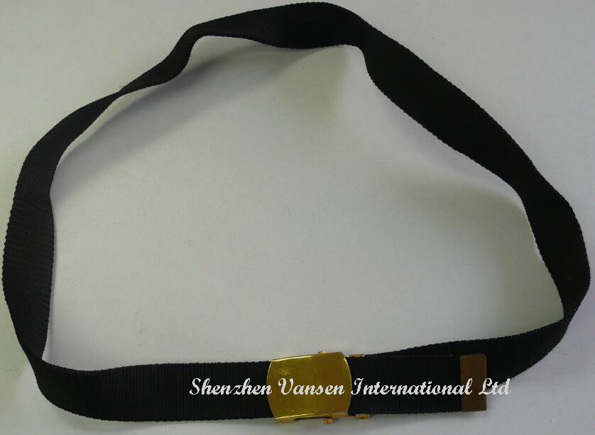Black Fabric Belt with Gold Steel Buckle pictures & photos