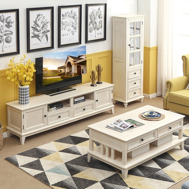 China Living Room Panel Furniture American Rural Style Antique Finish Solid Wood Leg Drawer Modern Rectangle White Wood Top Wood Coffee Table China Modern Rectangle Coffee Table White Wood Coffee Table