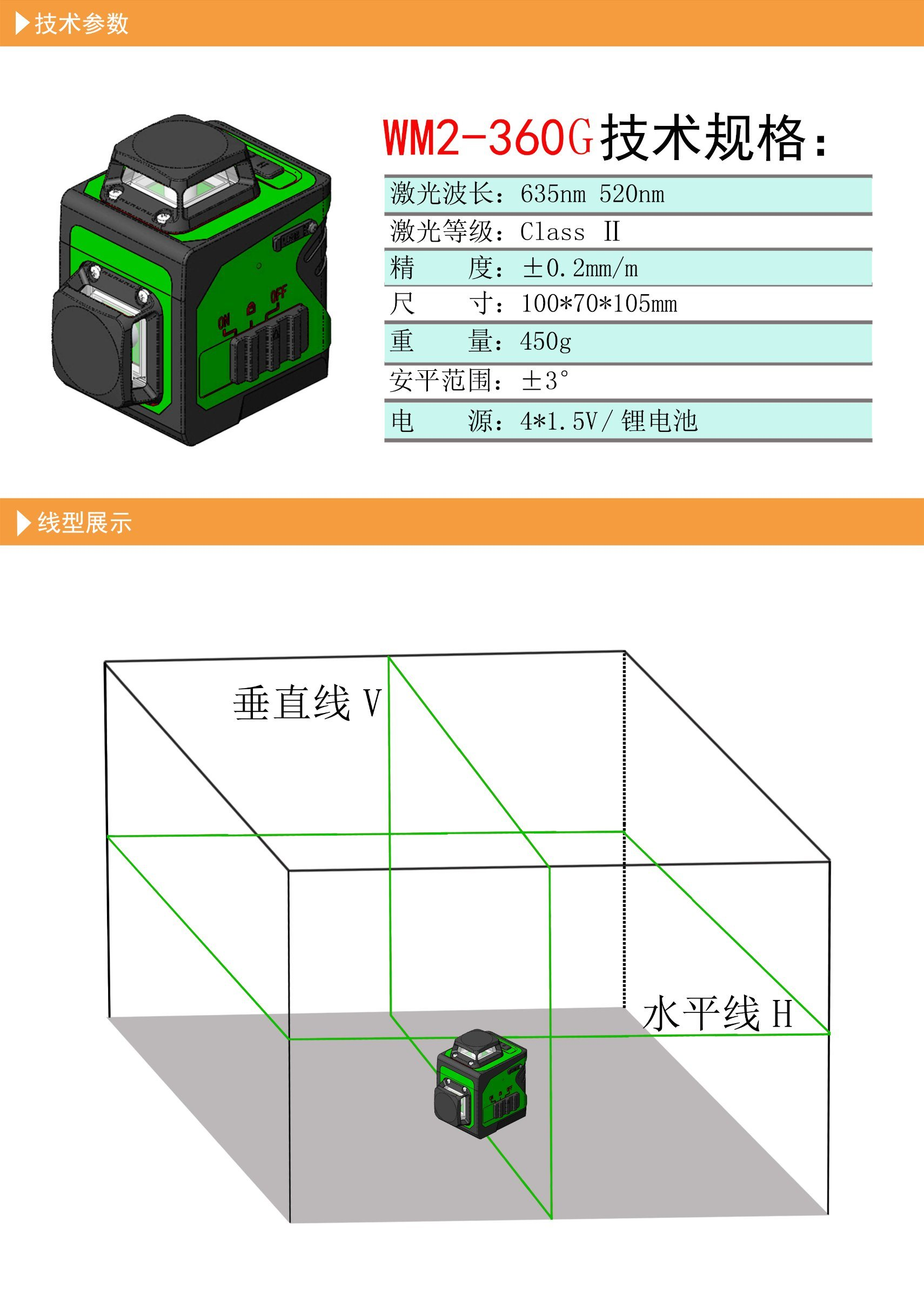 China Two 360 Degree Green Laser Level 8 Line Cross Diagram