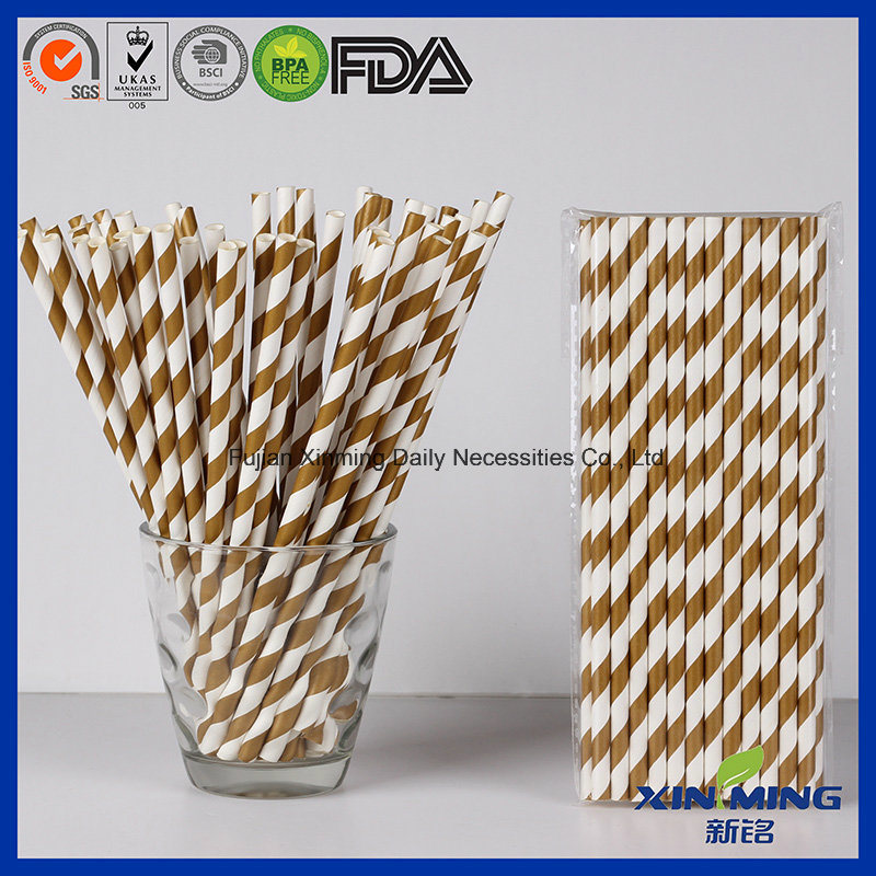Wedding Decoration Golden Striped Chevron Paper Straw