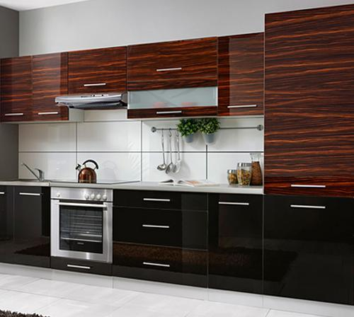 Hot Item China Glossy Woodgrain Shaker Plastic Kitchen Cabinet Zhuv