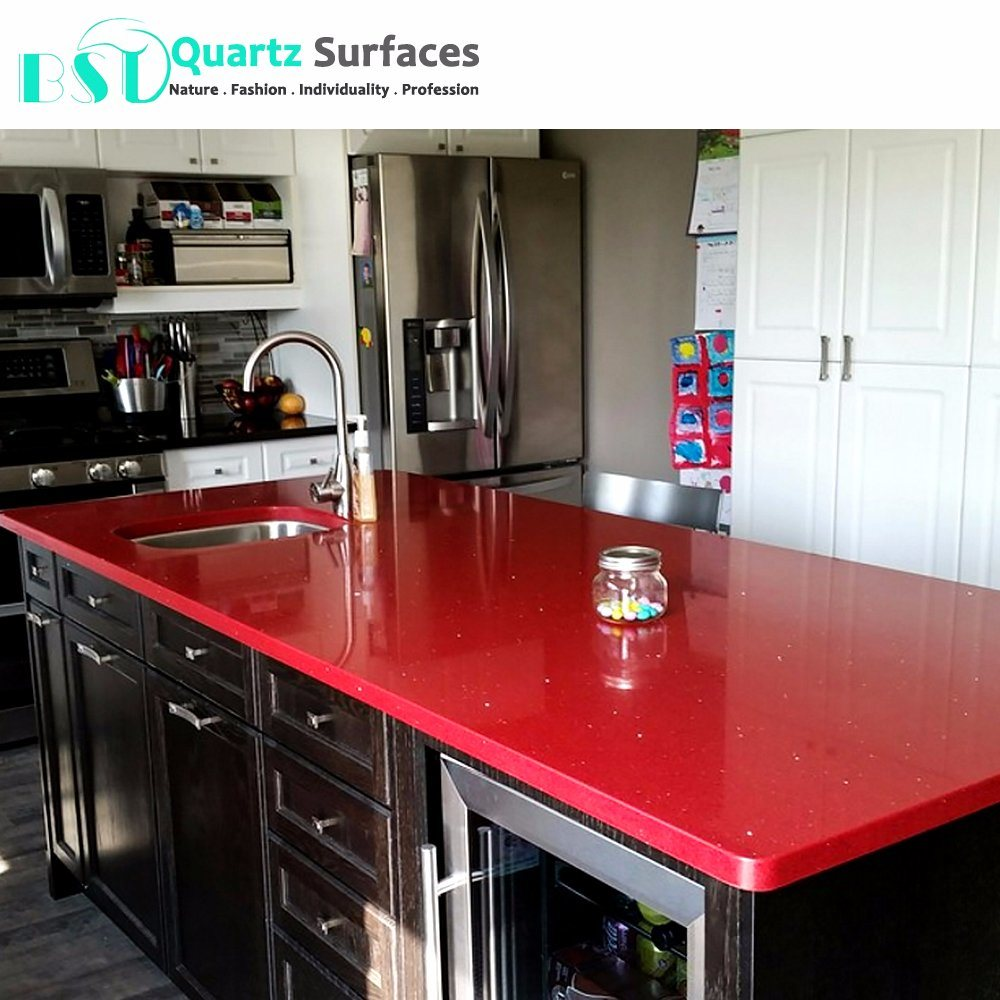 China Red Sparkle Quartz Stone Countertops Photos Pictures