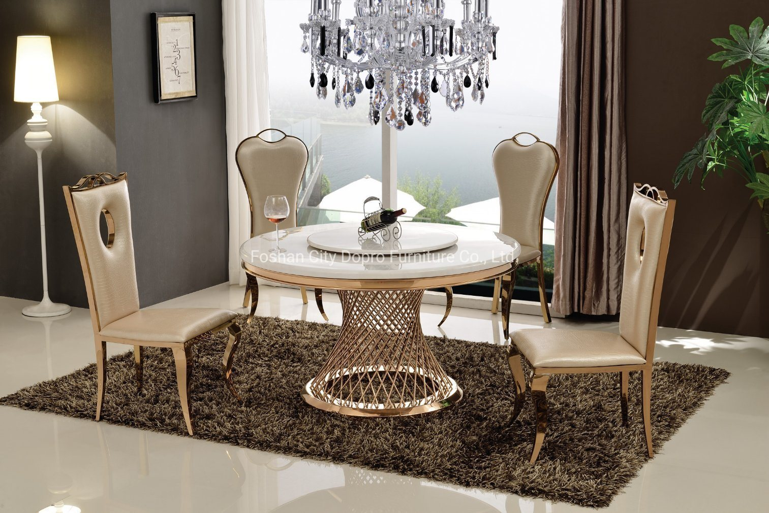 China Gold Dining Table With Super, White Marble Top Dining Room Table