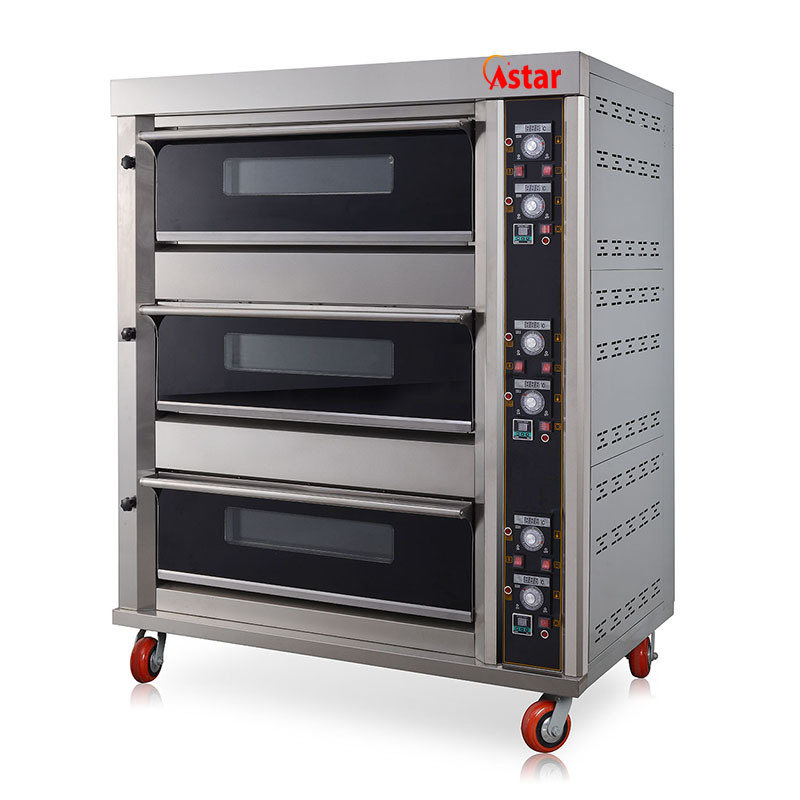 3 Deck 6 Trays Commercial Bread Baking Machine or Bakery Gas Oven Machine