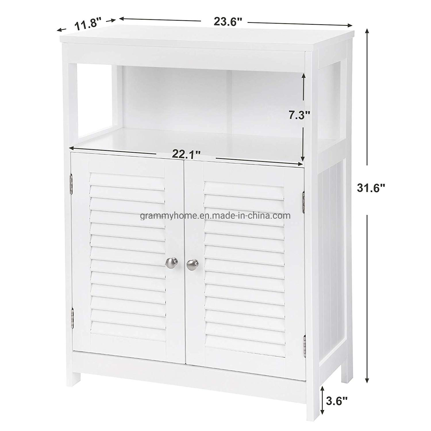 China Bathroom Cabinet Storage Floor Cabinet Free Standing With Double Shutter Door And Adjustable Shelf Photos Pictures Made In China Com