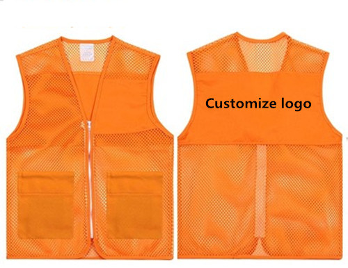 Safety Clothing Workplace Safety Supplies Reflective Polyester Mesh Vests With Pockets For Construction Worker In Summer Silk Screen Company Logo Printing