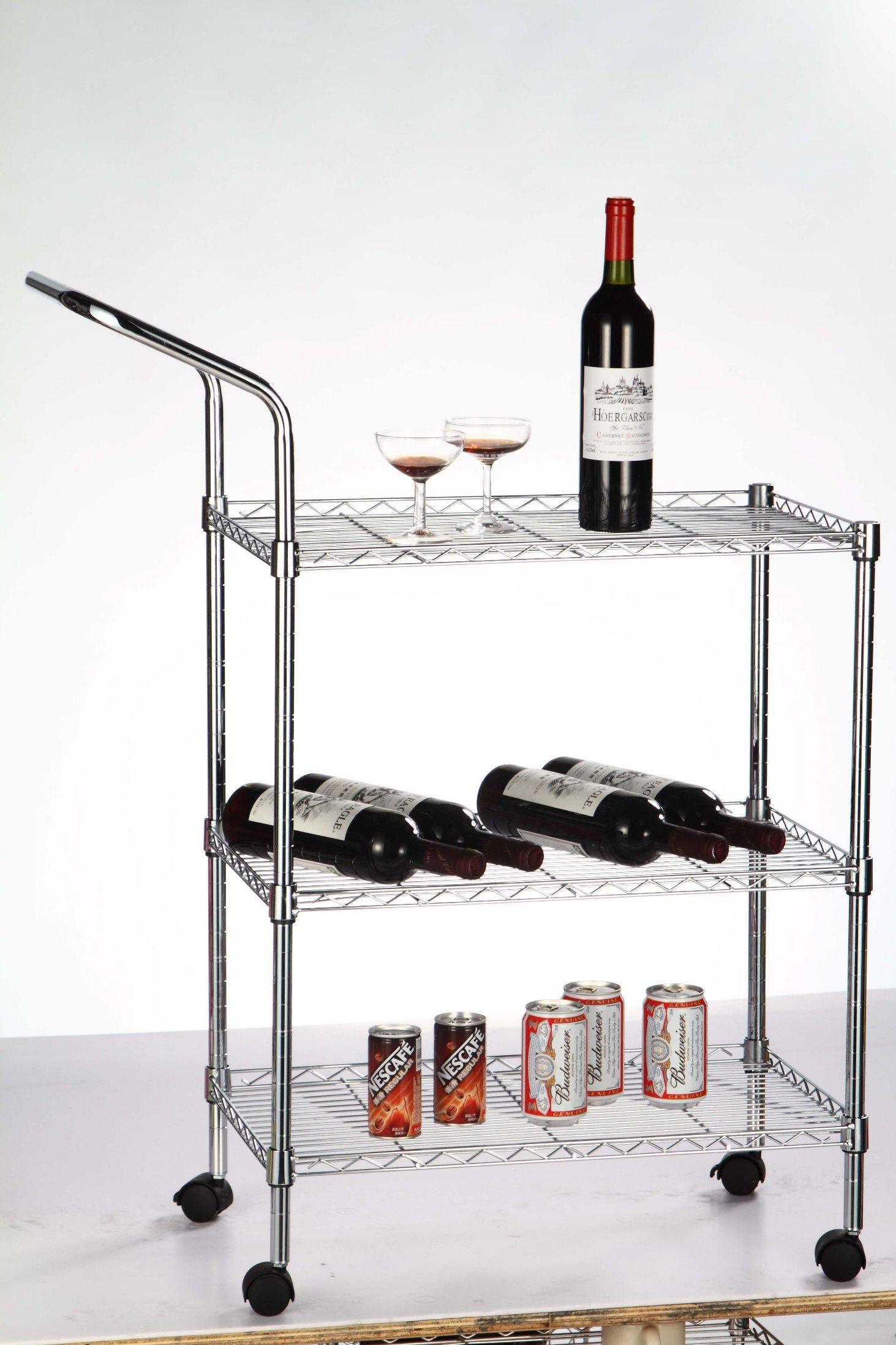 China Metal Chrome Wire Trolley Kitchen Cart Shelf - China ...