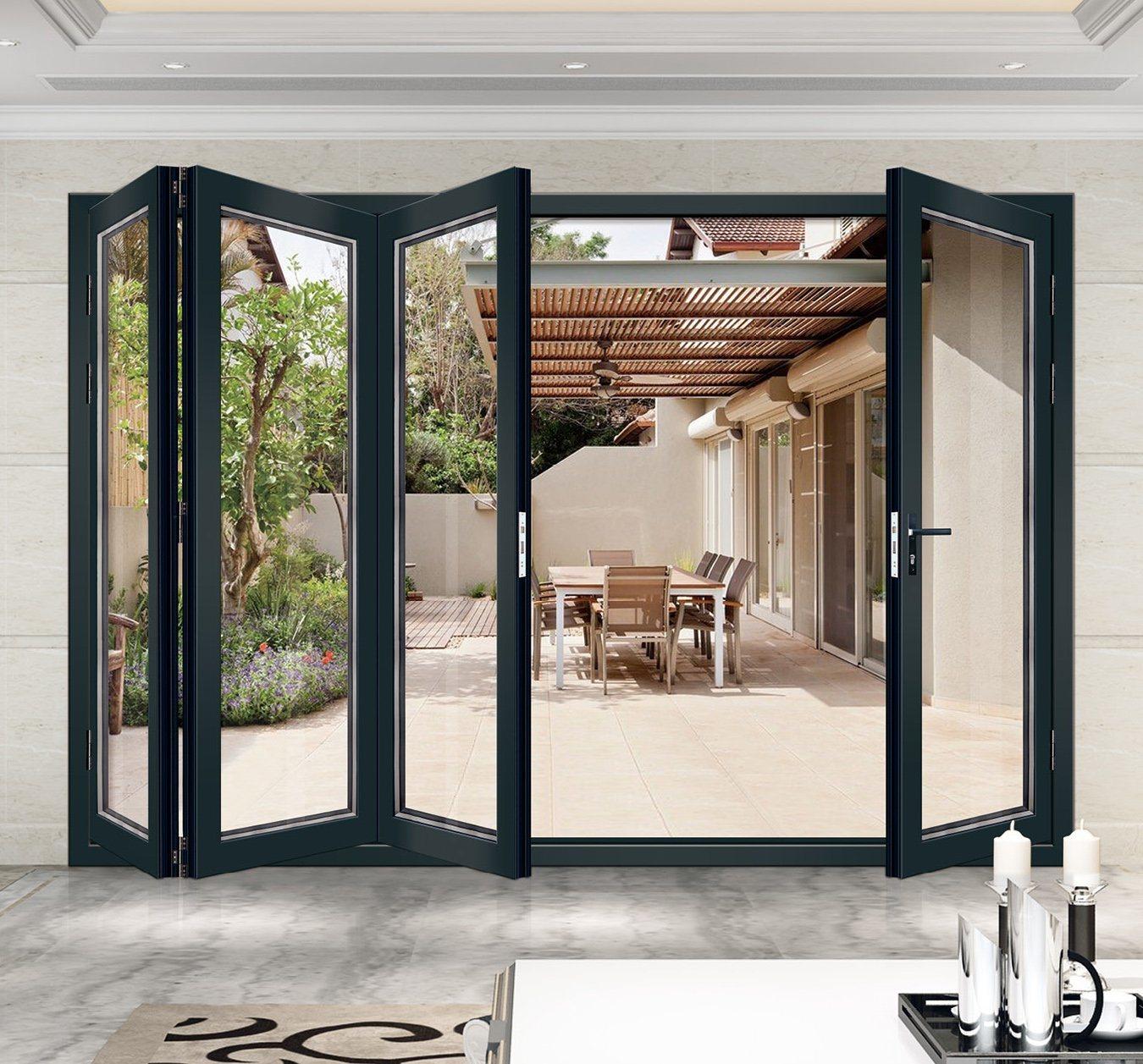 China Aluminum Frame Glass Folding Door for Patio - China Aluminum Glass Bifold Doors, Aluminum Glass Folding Door