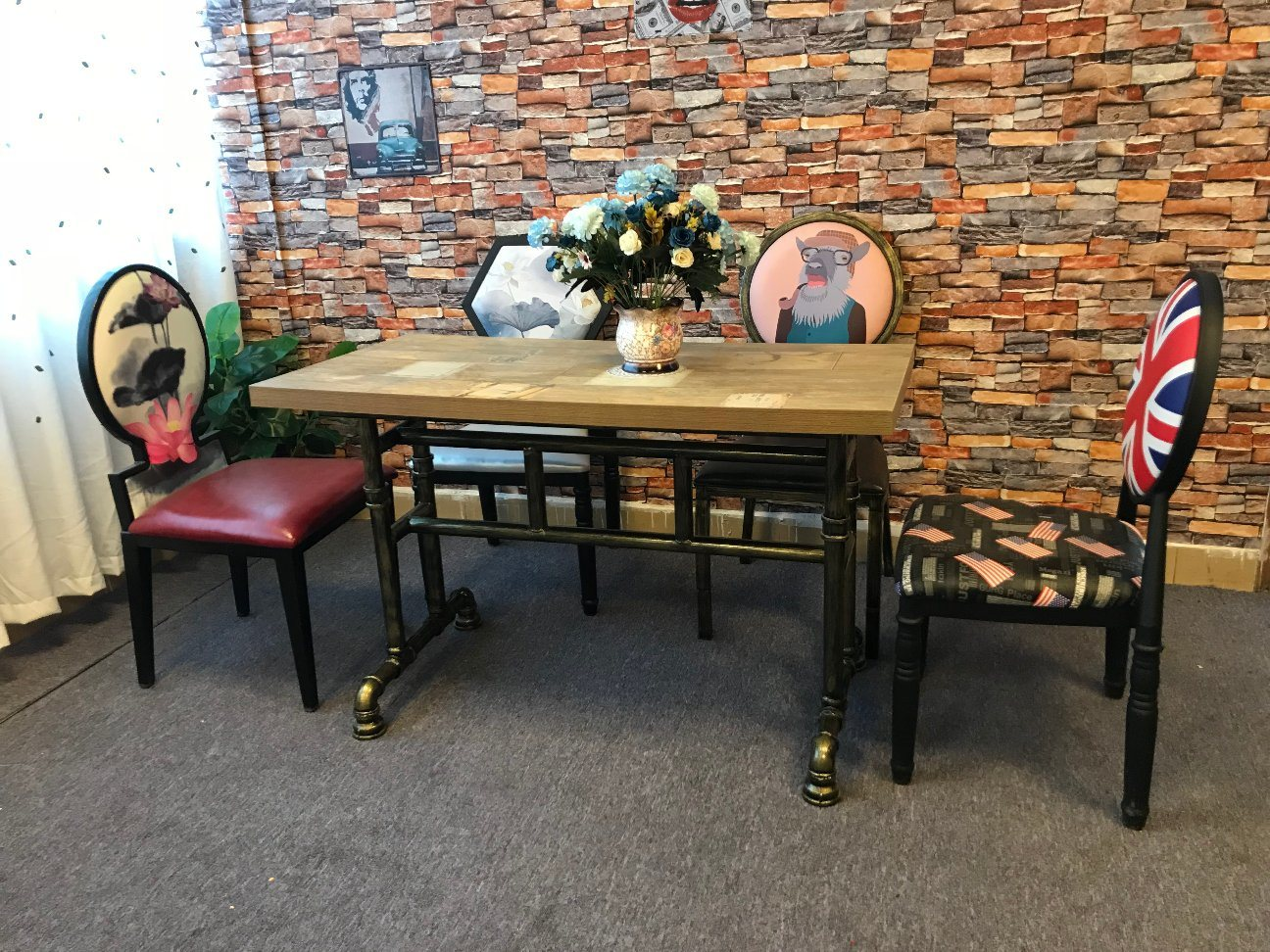 Picture of: China American Industrial Style Water Pipe Design Iron Restaurant Dining Table Chair Sets China Dining Table Wooden Board Table