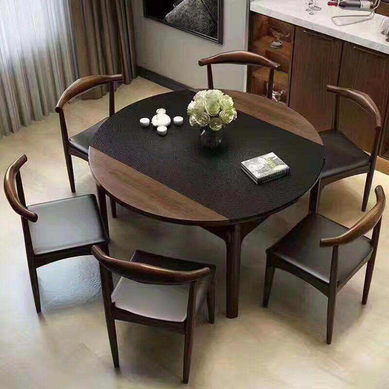 China Modern Style Marble Cover Folding Dinner Table With Chairs