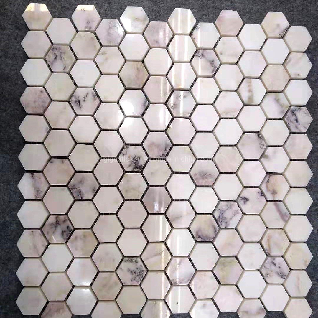 1 China Polished White Violet Purple Blue Calacatta Grey Calcite Marble Mosaic Hexagon Tile For Floor Wall Countertop Backsplash Of Kitchen Bathroom China Marble Mosaic Stone Mosaic