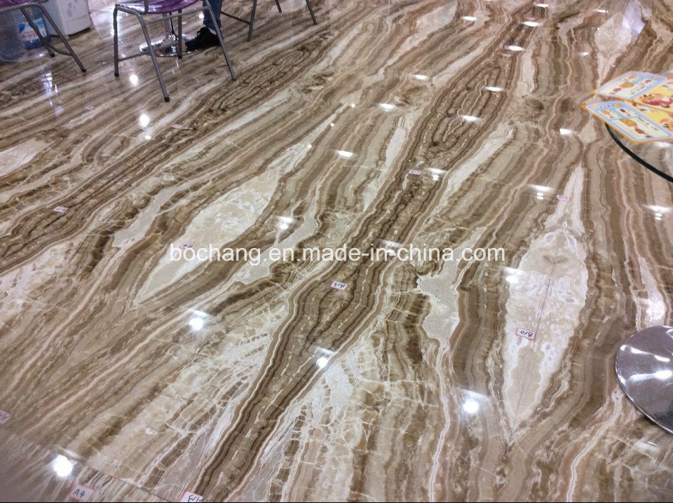 China Brown Wooden Onyx Marble Travertine For Flooring Tile