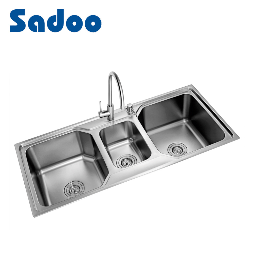 [Hot Item] 3 Bowl Self Rimming Kitchen Sink, Triple Bowl Sink From Chinese  Factory SD-7025