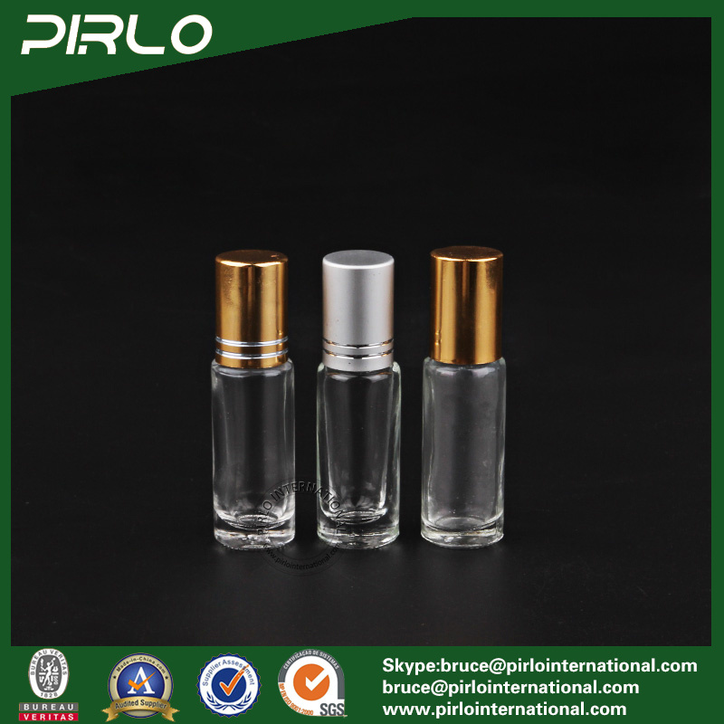 5ml Clear Luxury Cosmetic Deodorant Roll on Perfume Glass Bottle with Metal Cap