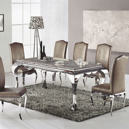 Table Frames Stainless Steel Marble Dining Set