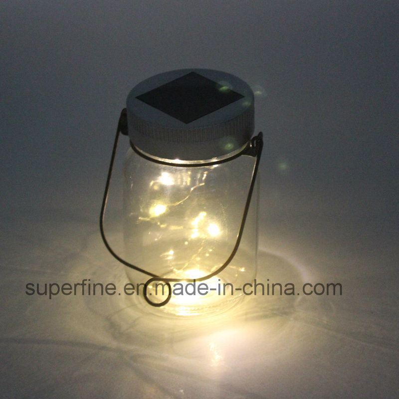 Shine Glittering Decoration Solar Transparent Jar Firefly LED Lights for Holiday