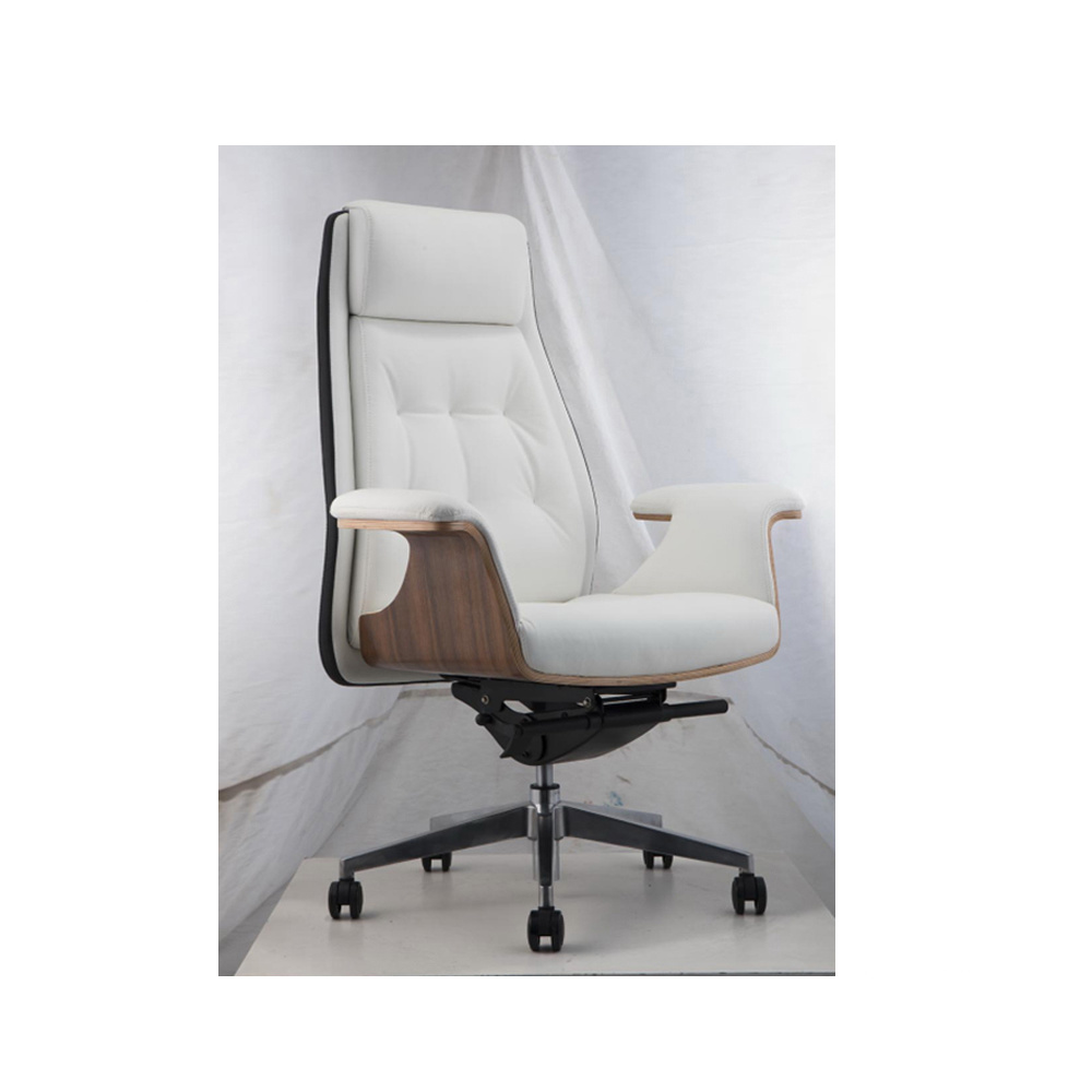 Elegant Warm White Leather Office Chair