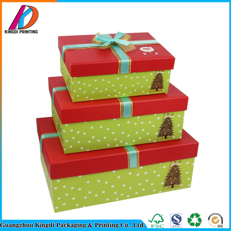 paperboard decorative christmas gift box with bow