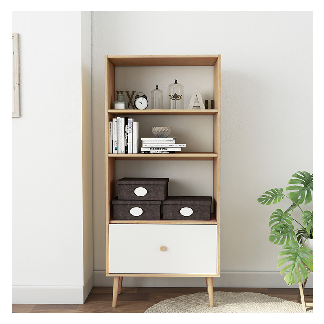 Wholesale Furniture Online White Wooden Small Office Bookshelf With Drawers