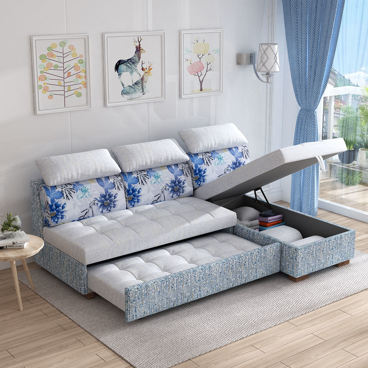 China Mini Fabric Sectional Couch, Coner L Shape Sofa Cum Bed With Storage Photos & Pictures - Made-in-china.com