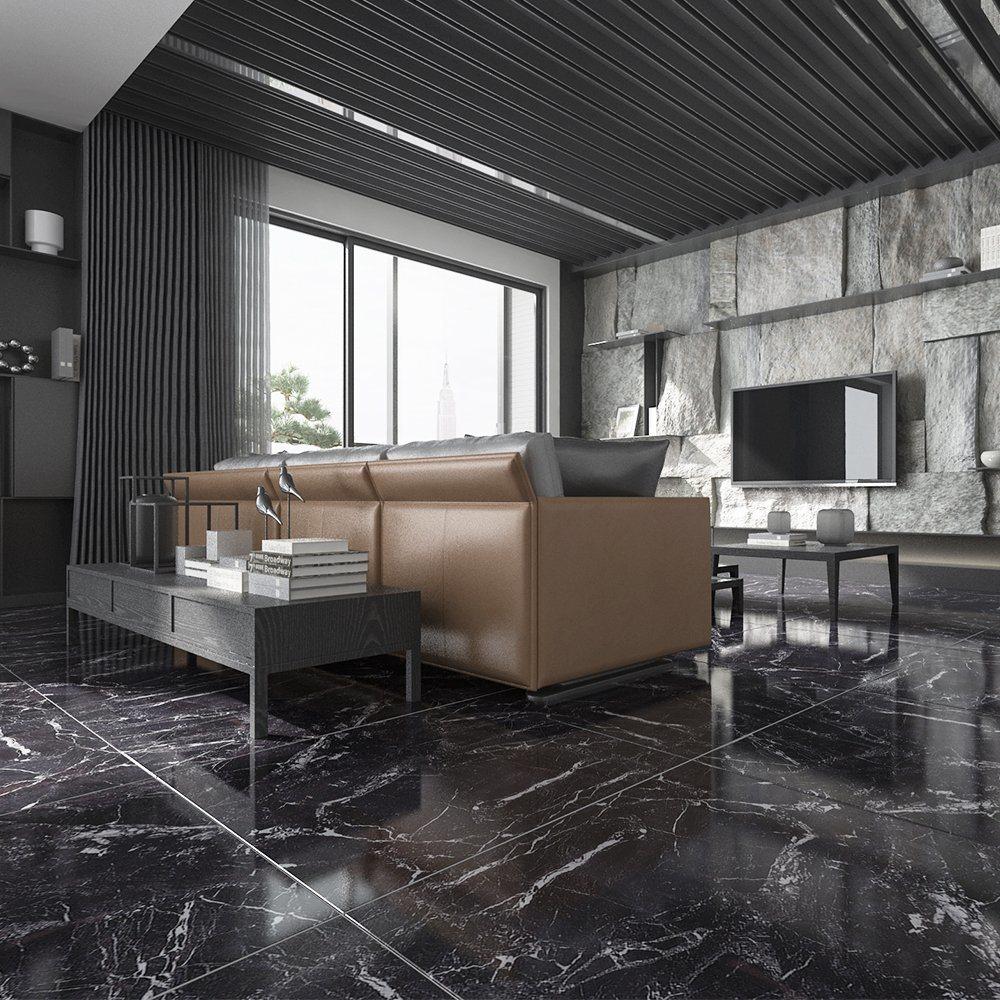 [Hot Item] 60X60 Glazed Surface Black Tile Flooring Modern Living Room