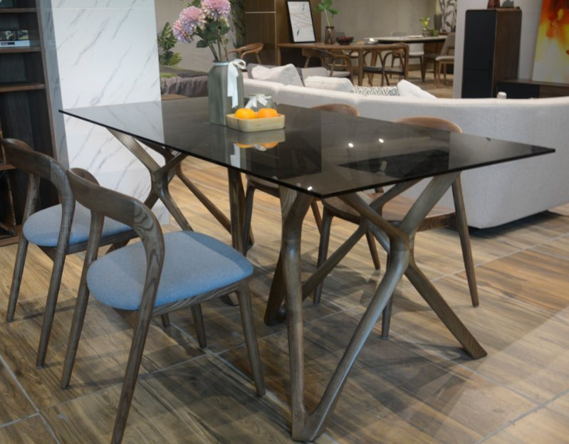 China Glass Top With Wooden Base Dining, Glass Dining Room Table With Wood Base