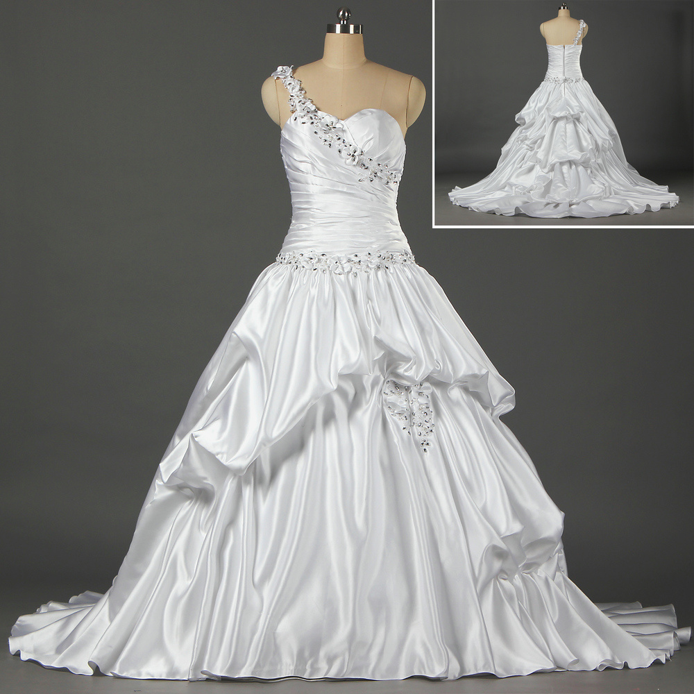 China White Satin Ball Gown Bead Flowers One Shoulder Wedding