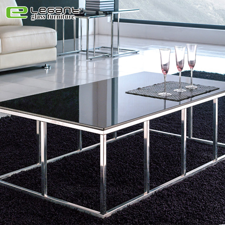China Reinforced Stainless Steel Legs Square Glass Top Coffee