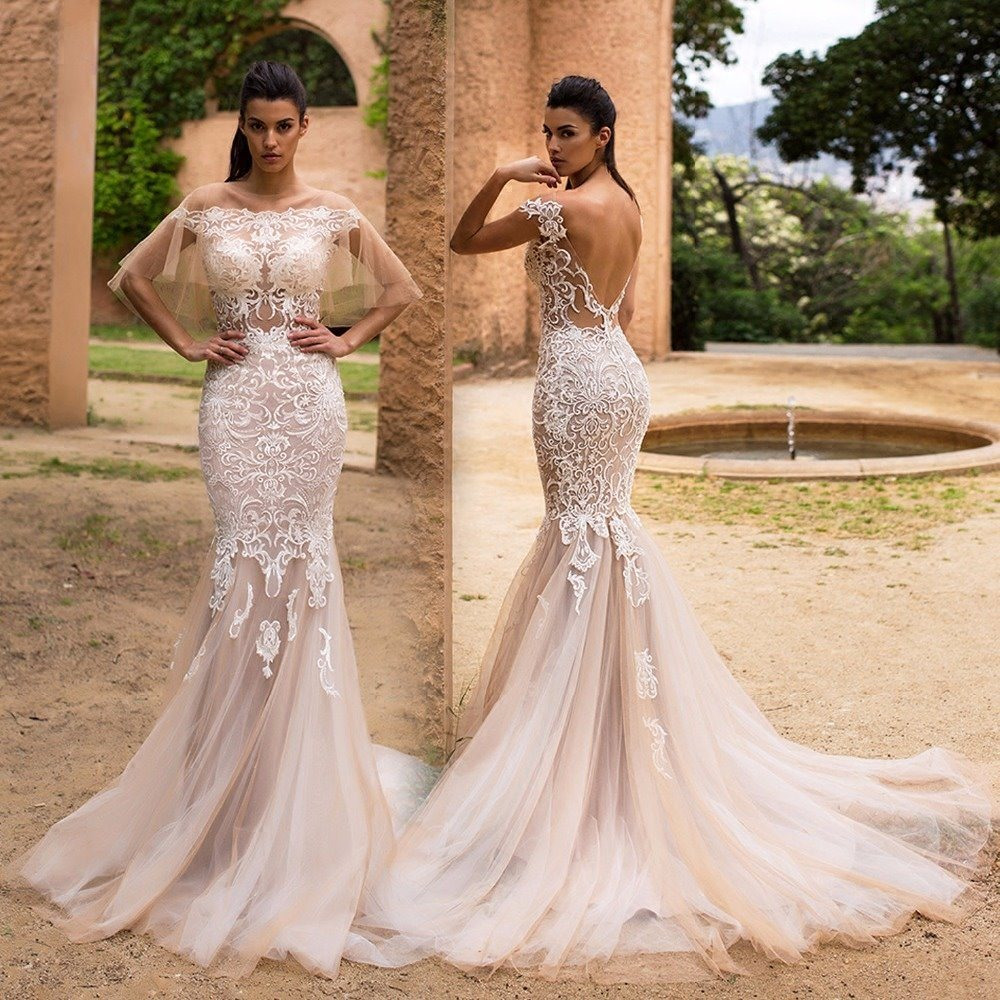 Mermaid Lace Wedding Gown: China Sheer Shawl Bridal Gowns Lace Mermaid Wedding Dress