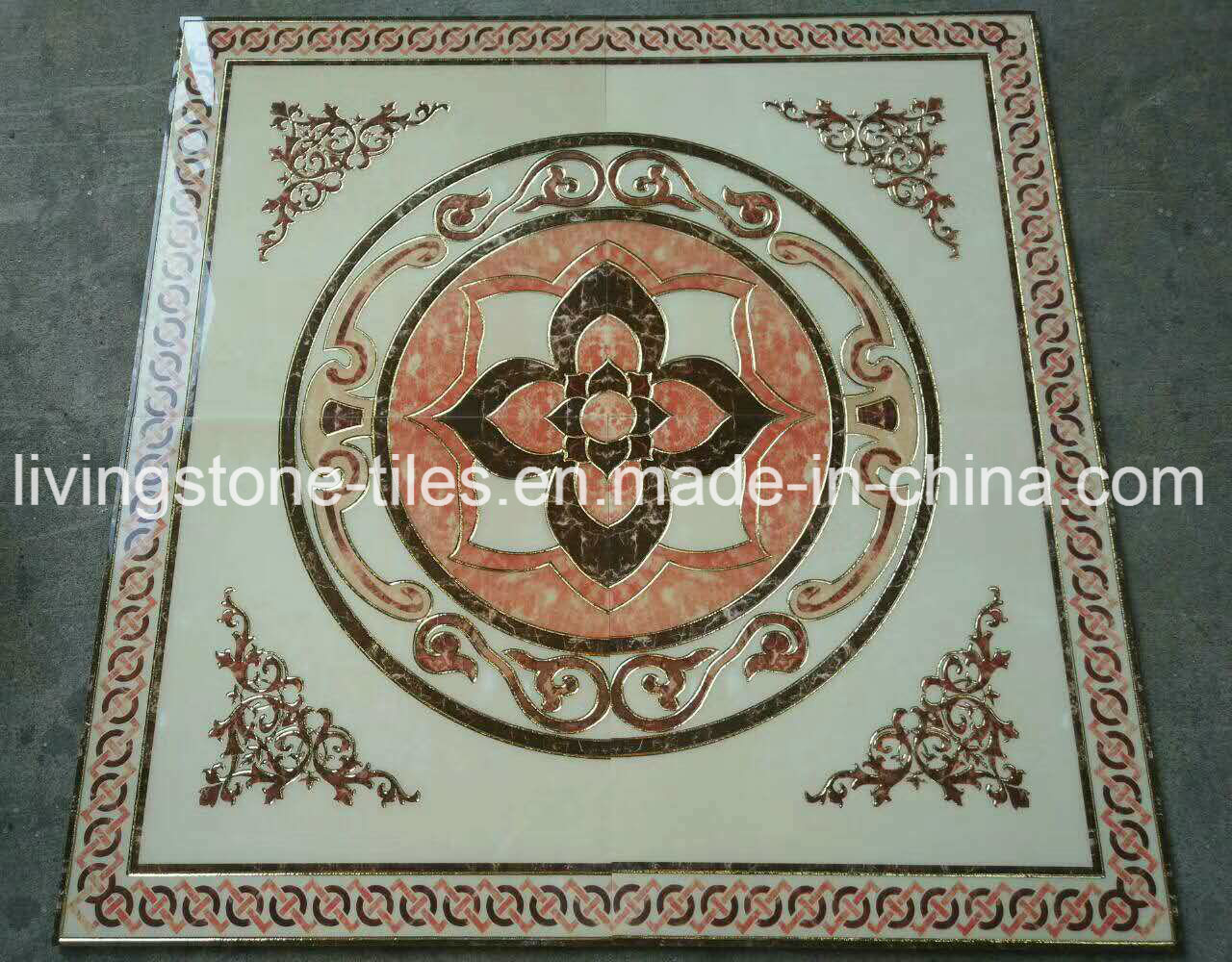 China 12001200mm Golden Carpet Design Puzzle Floor Tiles For Prayer