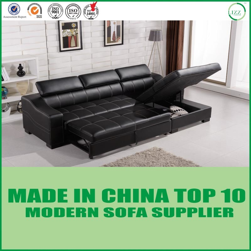 [Hot Item] Modern Italian Cowhide Leather Functional Storage Sofa Cum Bed